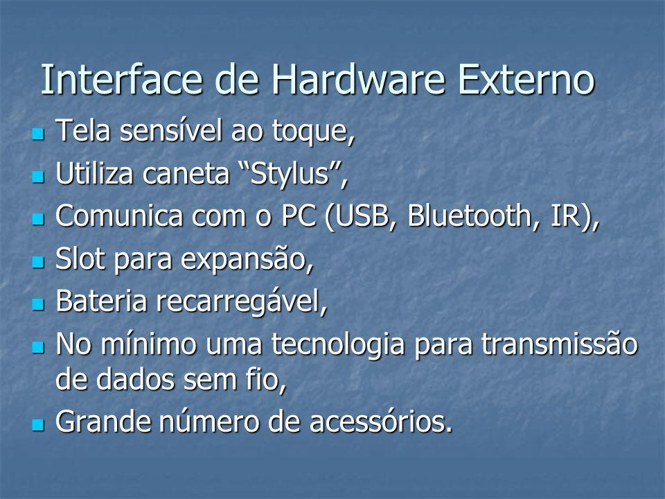 Interface de Hardware Externo Tela sensível ao toque, Tela sensível ao toque, Utiliza caneta Stylus, Utiliza caneta Stylus, Comunica com o PC (USB, Bl