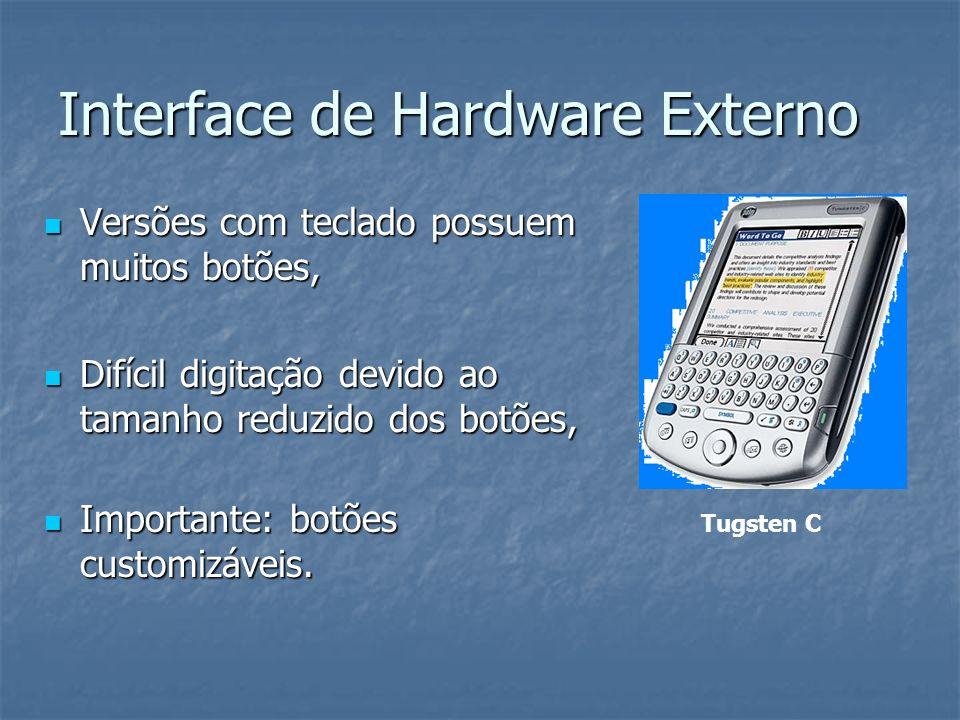 Interface de Hardware Externo Versões sem teclado possuem poucos botões, Versões sem teclado possuem poucos botões, Importante: botões customizáveis, Importante: botões customizáveis, Área destinada à escrita, logo abaixo da tela de exibição.
