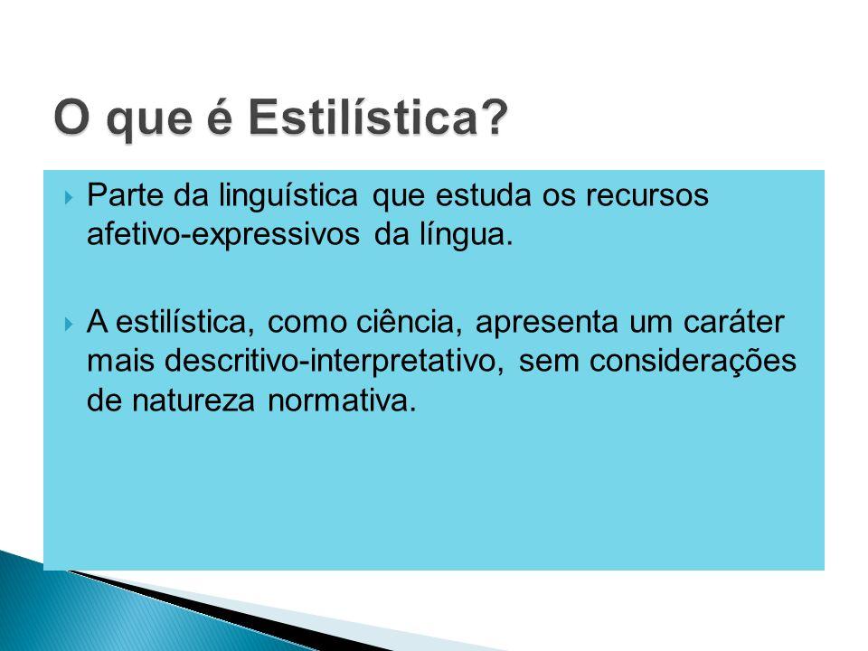 Parte da linguística que estuda os recursos afetivo-expressivos da língua. A estilística, como ciência, apresenta um caráter mais descritivo-interpret