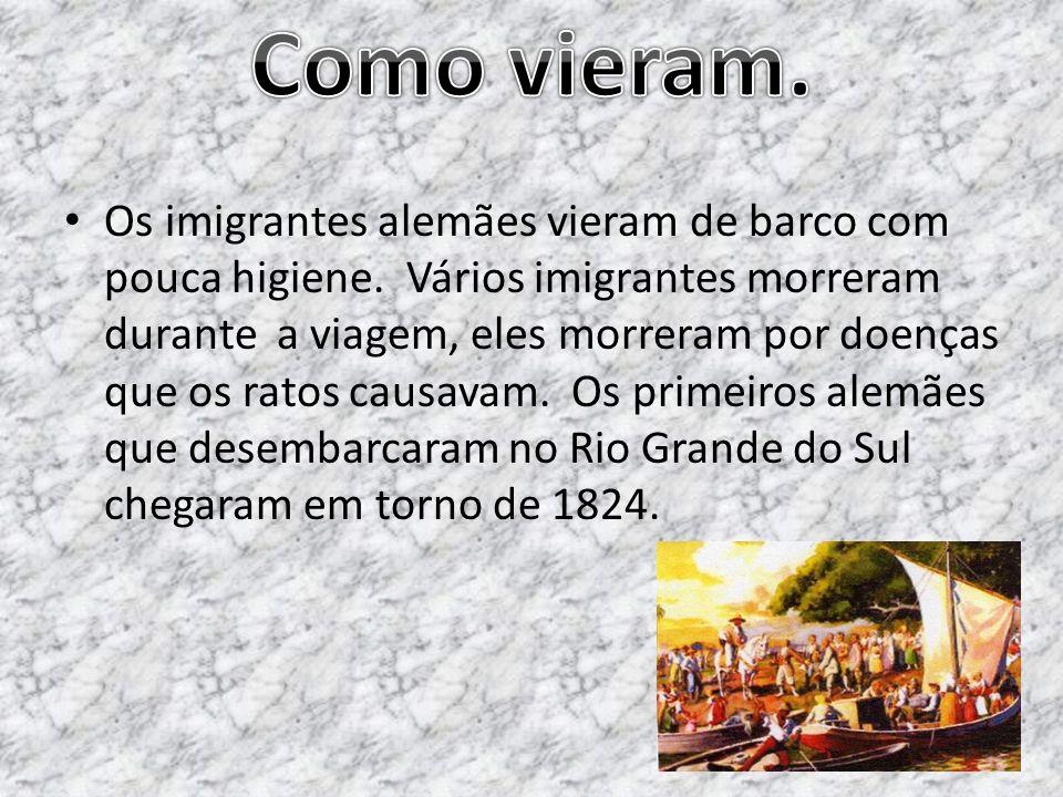 Os imigrantes alemães vieram de barco com pouca higiene. Vários imigrantes morreram durante a viagem, eles morreram por doenças que os ratos causavam.