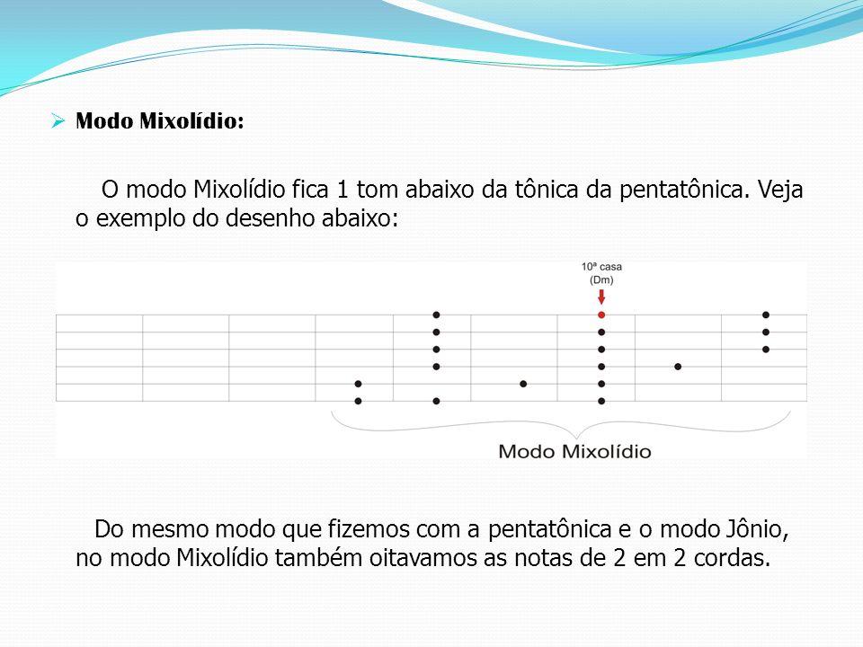 Modo Mixolídio: O modo Mixolídio fica 1 tom abaixo da tônica da pentatônica.