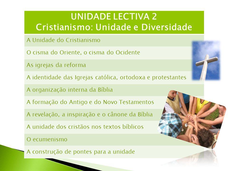UNIDADE LECTIVA 2 Cristianismo: Unidade e Diversidade A Unidade do Cristianismo O cisma do Oriente, o cisma do Ocidente As igrejas da reforma A identi