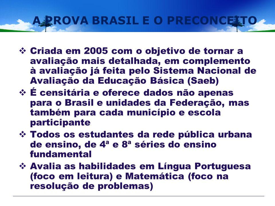 A PROVA BRASIL E O PRECONCEITO Criada em 2005 com o objetivo de tornar a avaliação mais detalhada, em complemento à avaliação já feita pelo Sistema Na