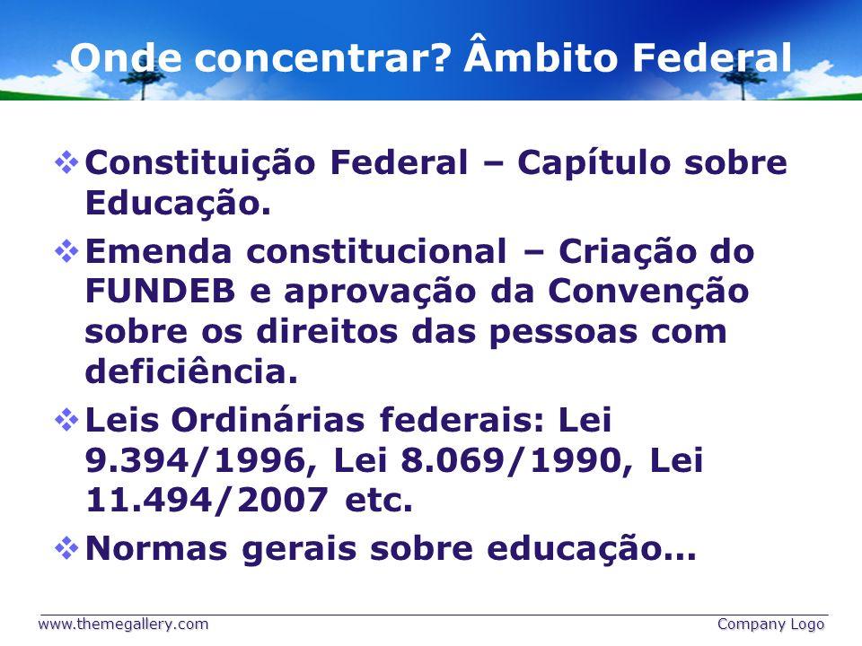 Onde concentrar? Âmbito Federal Constituição Federal – Capítulo sobre Educação. Emenda constitucional – Criação do FUNDEB e aprovação da Convenção sob