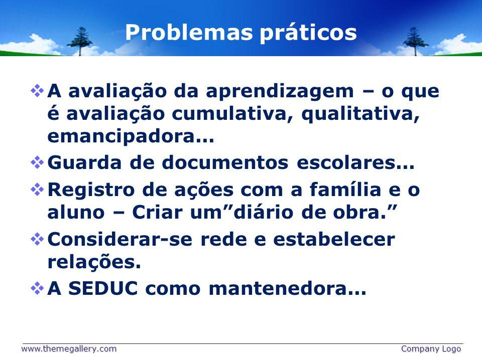 Problemas práticos A avaliação da aprendizagem – o que é avaliação cumulativa, qualitativa, emancipadora... Guarda de documentos escolares... Registro