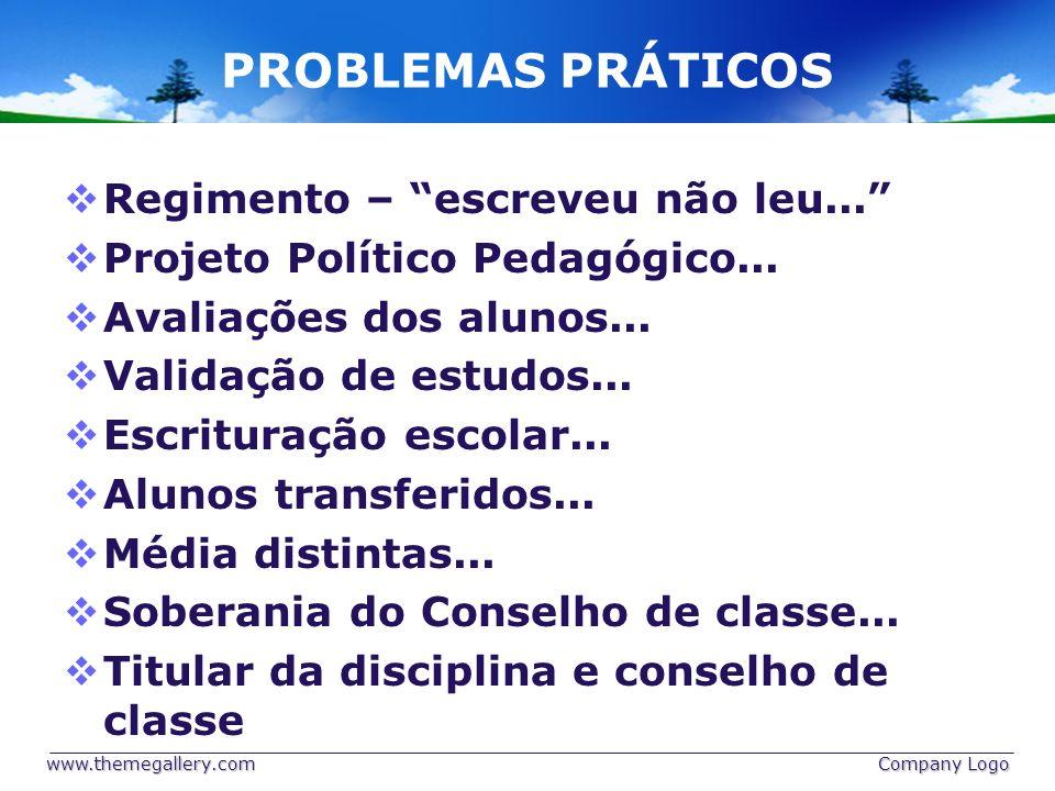 PROBLEMAS PRÁTICOS Regimento – escreveu não leu... Projeto Político Pedagógico... Avaliações dos alunos... Validação de estudos... Escrituração escola