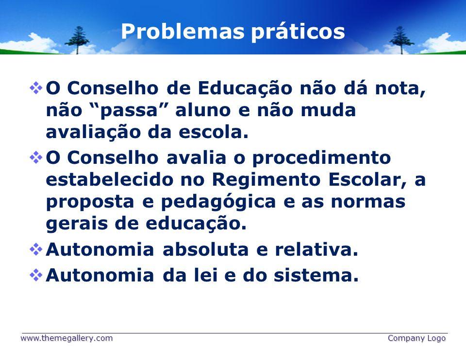 Problemas práticos O Conselho de Educação não dá nota, não passa aluno e não muda avaliação da escola. O Conselho avalia o procedimento estabelecido n