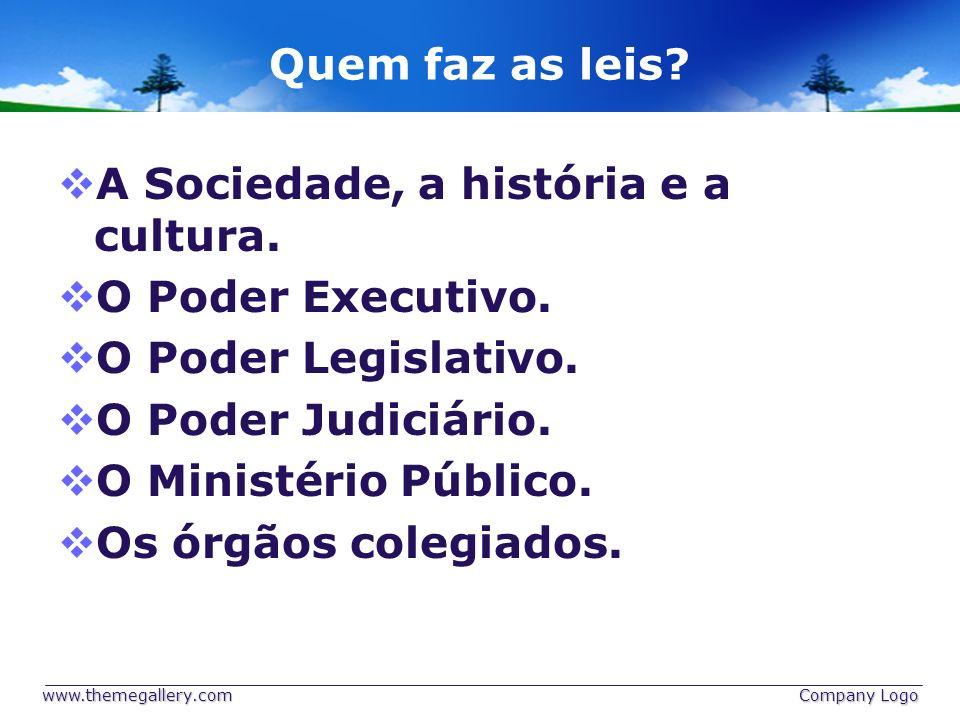 Quem faz as leis? A Sociedade, a história e a cultura. O Poder Executivo. O Poder Legislativo. O Poder Judiciário. O Ministério Público. Os órgãos col