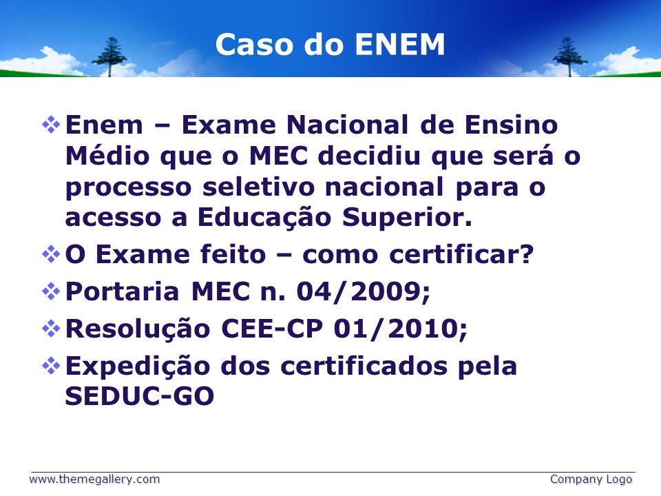 Caso do ENEM Enem – Exame Nacional de Ensino Médio que o MEC decidiu que será o processo seletivo nacional para o acesso a Educação Superior. O Exame