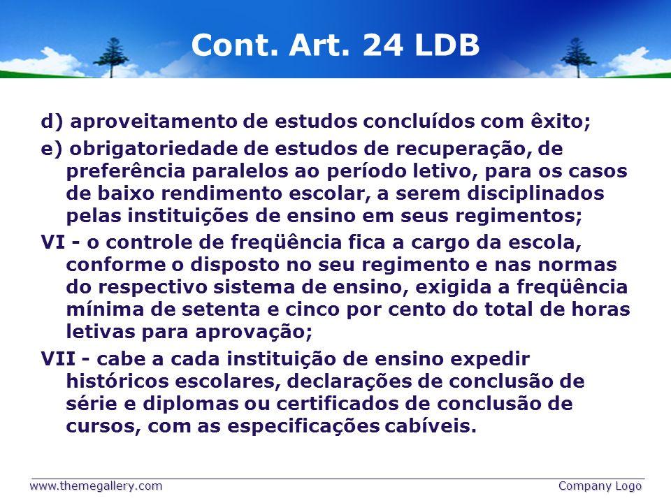 Cont. Art. 24 LDB d) aproveitamento de estudos concluídos com êxito; e) obrigatoriedade de estudos de recuperação, de preferência paralelos ao período