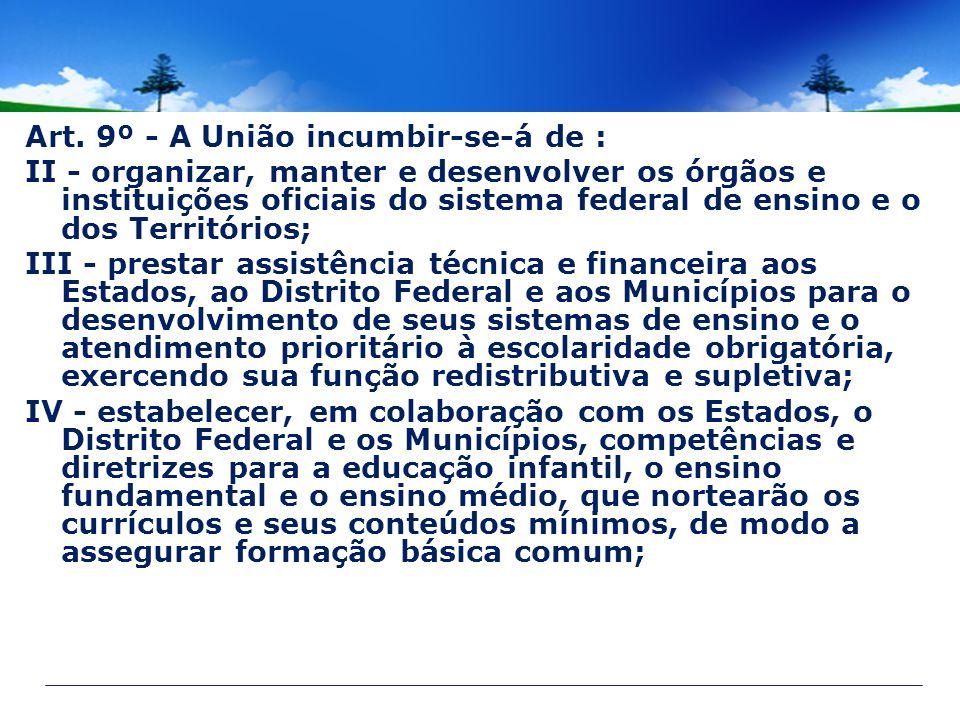 Art. 9º - A União incumbir-se-á de : II - organizar, manter e desenvolver os órgãos e instituições oficiais do sistema federal de ensino e o dos Terri