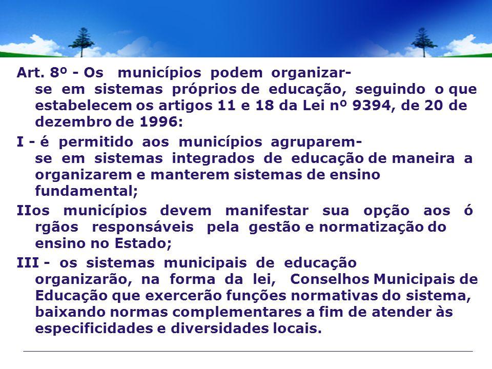 Art. 8º - Os municípios podem organizar- se em sistemas próprios de educação, seguindo o que estabelecem os artigos 11 e 18 da Lei nº 9394, de 20 de d