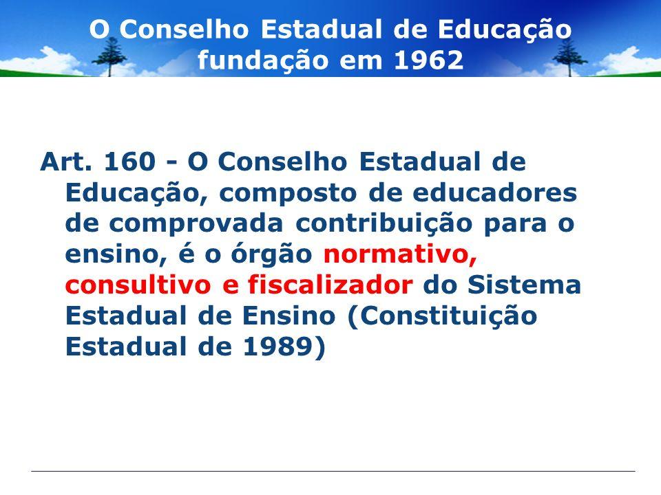 O Conselho Estadual de Educação fundação em 1962 Art. 160 - O Conselho Estadual de Educação, composto de educadores de comprovada contribuição para o