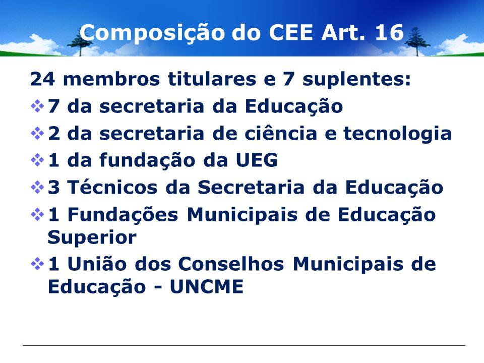 Composição do CEE Art. 16 24 membros titulares e 7 suplentes: 7 da secretaria da Educação 2 da secretaria de ciência e tecnologia 1 da fundação da UEG