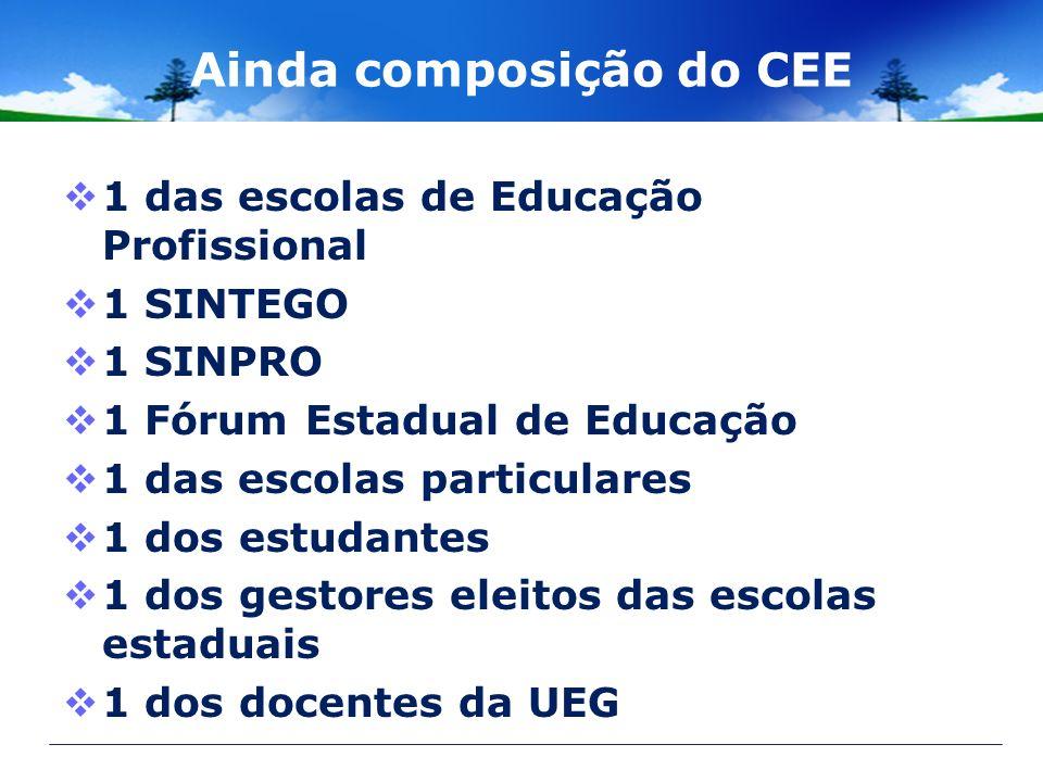Ainda composição do CEE 1 das escolas de Educação Profissional 1 SINTEGO 1 SINPRO 1 Fórum Estadual de Educação 1 das escolas particulares 1 dos estuda