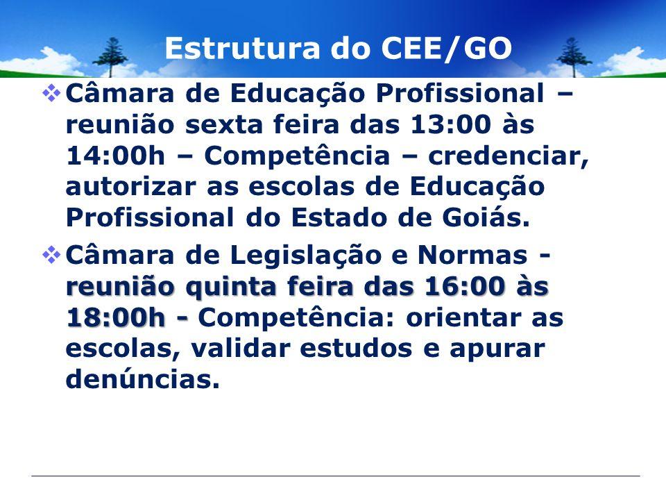Estrutura do CEE/GO Câmara de Educação Profissional – reunião sexta feira das 13:00 às 14:00h – Competência – credenciar, autorizar as escolas de Educ