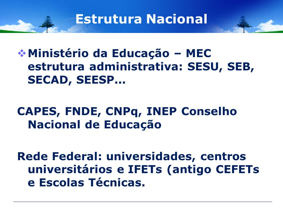 Estrutura Nacional Ministério da Educação – MEC estrutura administrativa: SESU, SEB, SECAD, SEESP... CAPES, FNDE, CNPq, INEP Conselho Nacional de Educ