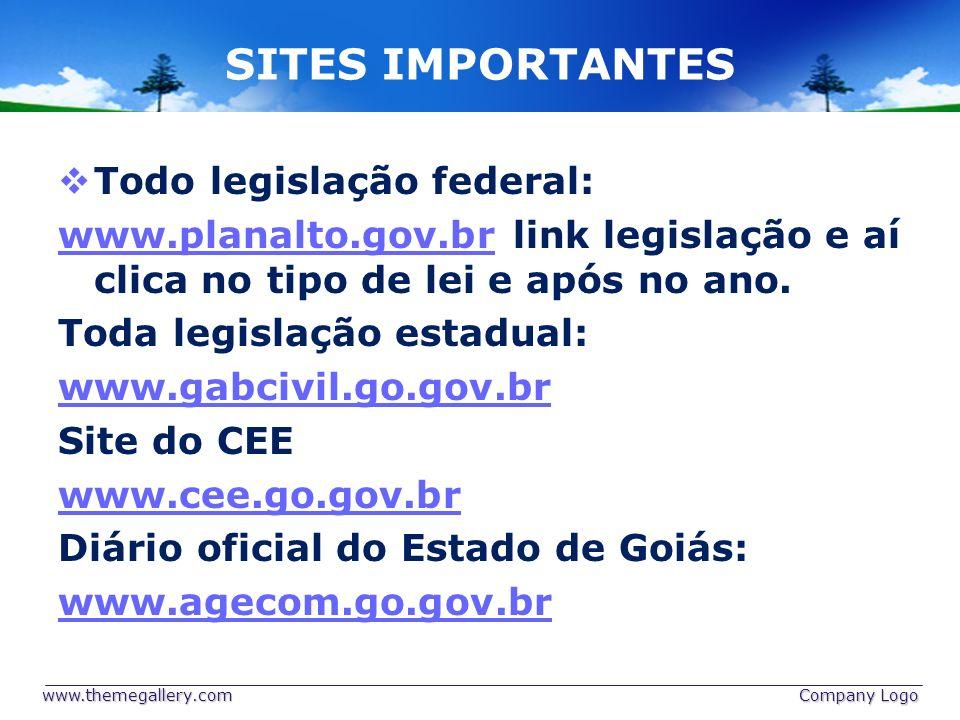SITES IMPORTANTES Todo legislação federal: www.planalto.gov.brwww.planalto.gov.br link legislação e aí clica no tipo de lei e após no ano. Toda legisl