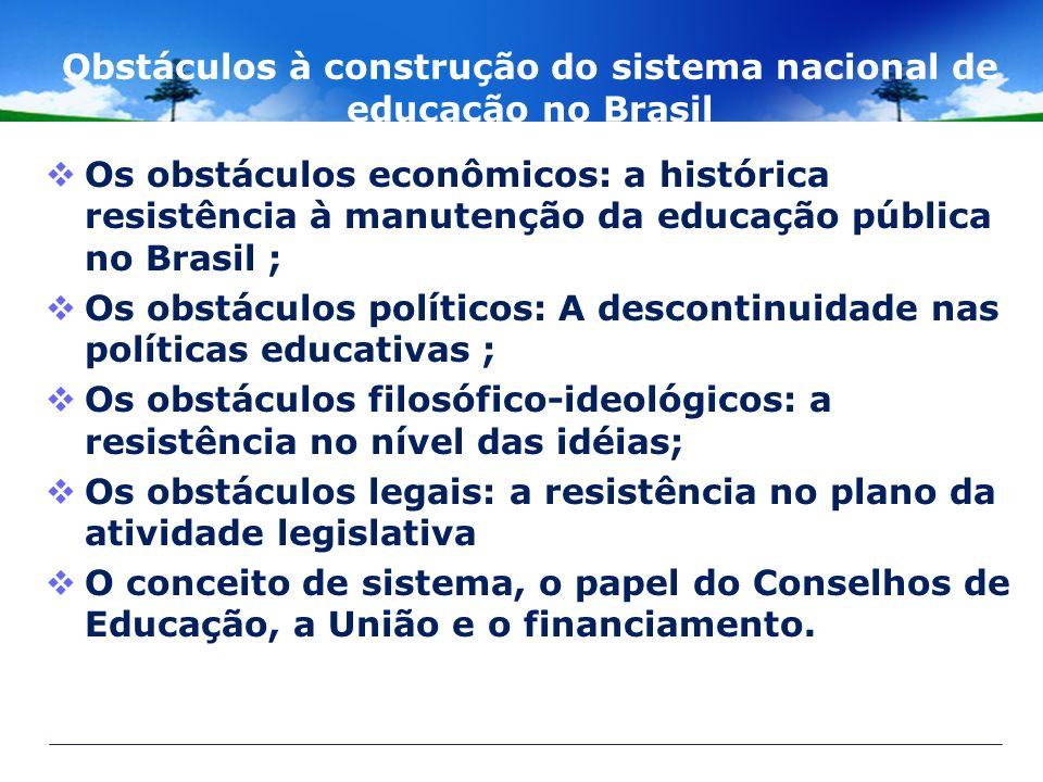 Obstáculos à construção do sistema nacional de educação no Brasil Os obstáculos econômicos: a histórica resistência à manutenção da educação pública n