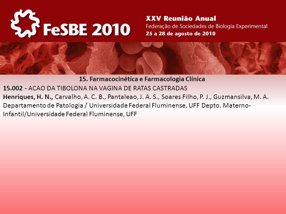 15. Farmacocinética e Farmacologia Clínica 15.002 - ACAO DA TIBOLONA NA VAGINA DE RATAS CASTRADAS Henriques, H. N., Carvalho, A. C. B., Pantaleao, J.