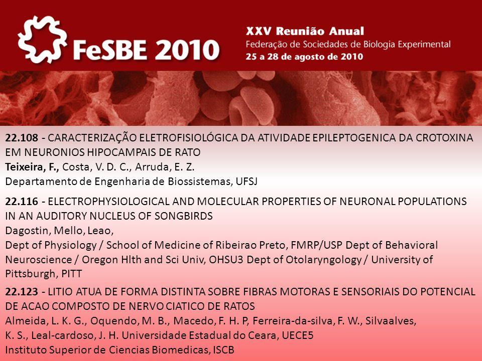 22.108 - CARACTERIZAÇÃO ELETROFISIOLÓGICA DA ATIVIDADE EPILEPTOGENICA DA CROTOXINA EM NEURONIOS HIPOCAMPAIS DE RATO Teixeira, F., Costa, V. D. C., Arr