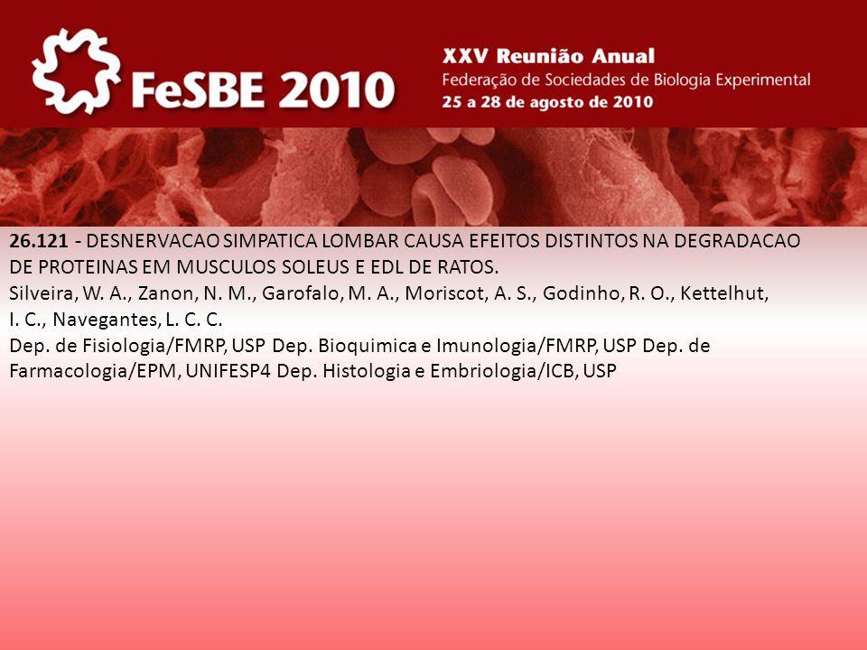 26.121 - DESNERVACAO SIMPATICA LOMBAR CAUSA EFEITOS DISTINTOS NA DEGRADACAO DE PROTEINAS EM MUSCULOS SOLEUS E EDL DE RATOS. Silveira, W. A., Zanon, N.