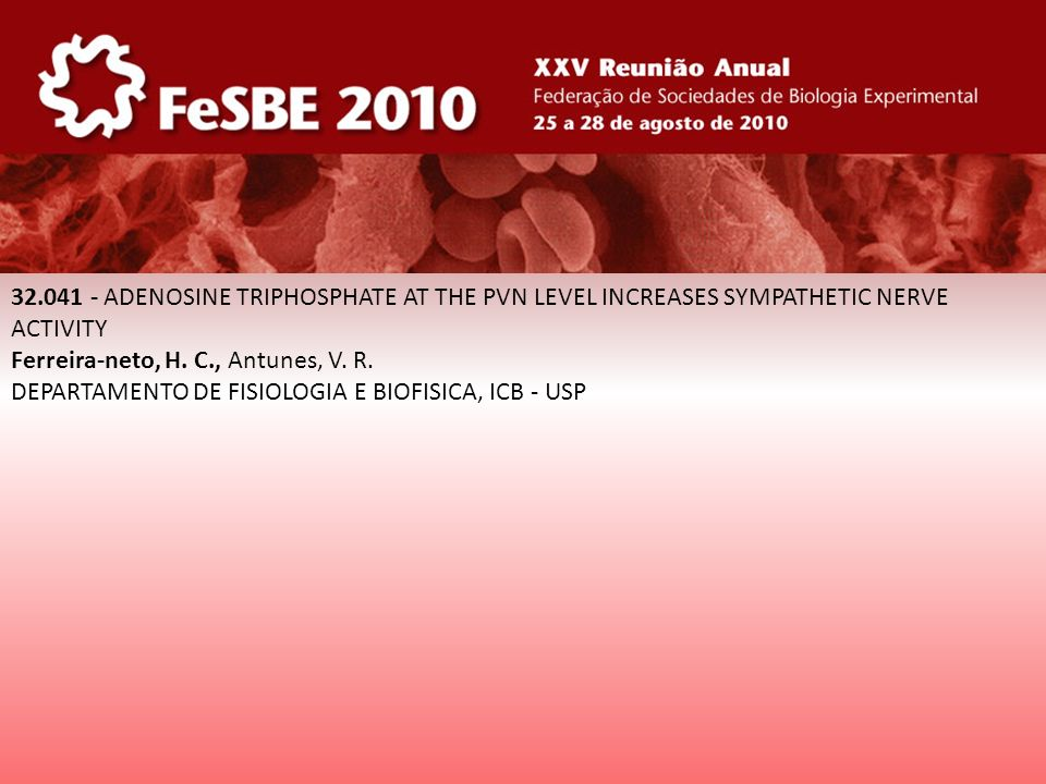 32.041 - ADENOSINE TRIPHOSPHATE AT THE PVN LEVEL INCREASES SYMPATHETIC NERVE ACTIVITY Ferreira-neto, H. C., Antunes, V. R. DEPARTAMENTO DE FISIOLOGIA
