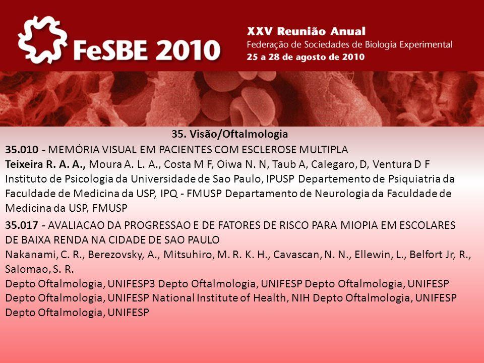35. Visão/Oftalmologia 35.010 - MEMÓRIA VISUAL EM PACIENTES COM ESCLEROSE MULTIPLA Teixeira R. A. A., Moura A. L. A., Costa M F, Oiwa N. N, Taub A, Ca