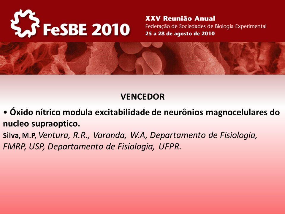 Óxido nítrico modula excitabilidade de neurônios magnocelulares do nucleo supraoptico. Silva, M.P, Ventura, R.R., Varanda, W.A, Departamento de Fisiol