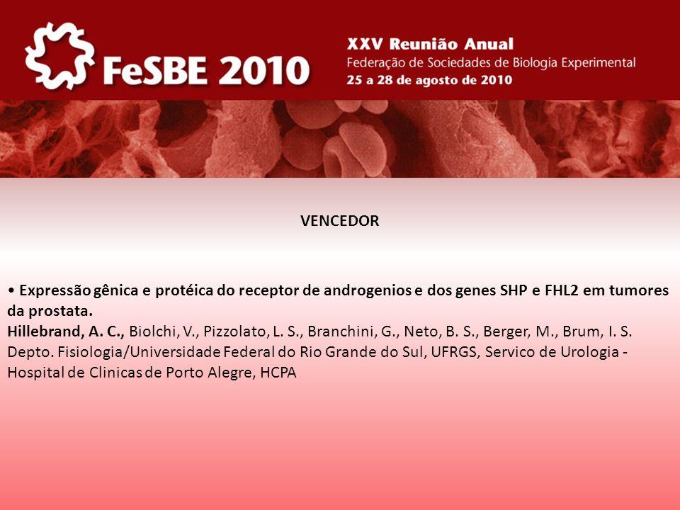 Expressão gênica e protéica do receptor de androgenios e dos genes SHP e FHL2 em tumores da prostata. Hillebrand, A. C., Biolchi, V., Pizzolato, L. S.