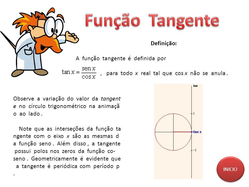 Definição: A função tangente é definida por, para todo x real tal que cos x não se anula. Observe a variação do valor da tangent e no círculo trigonom