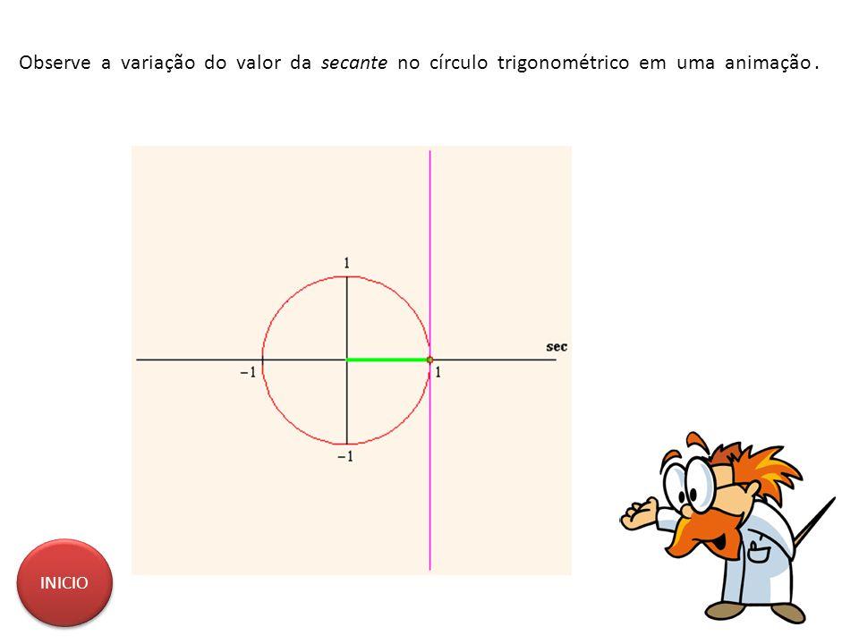 Observe a variação do valor da secante no círculo trigonométrico em uma animação. INICIO