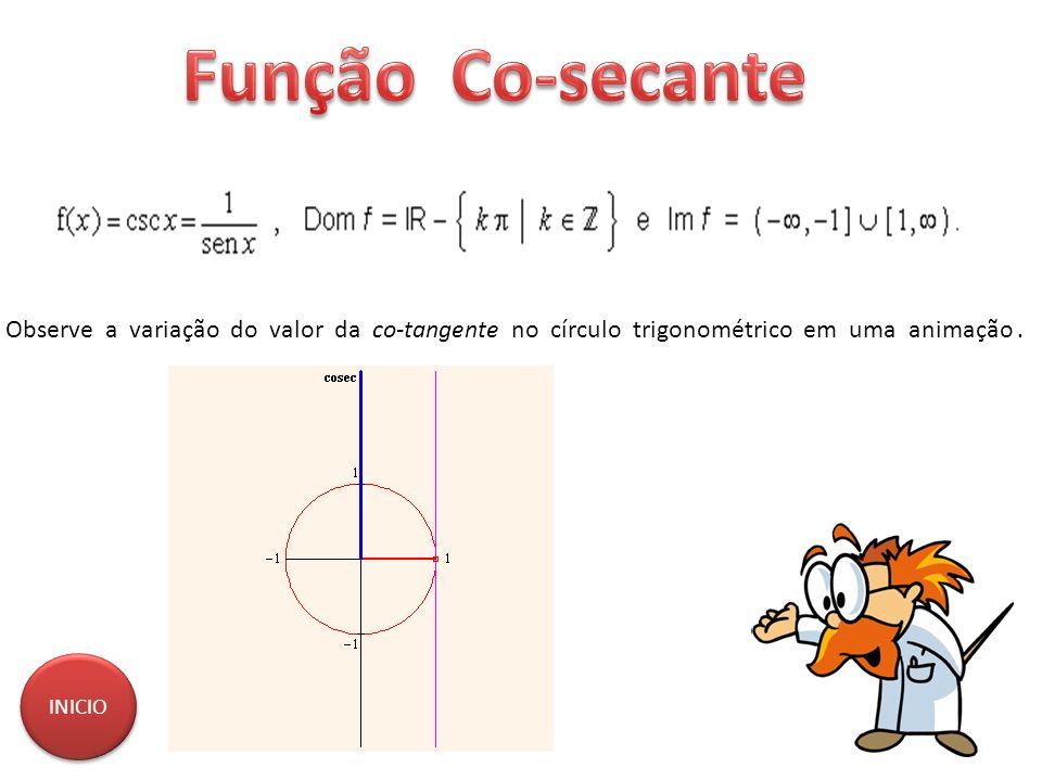Observe a variação do valor da co-tangente no círculo trigonométrico em uma animação. INICIO