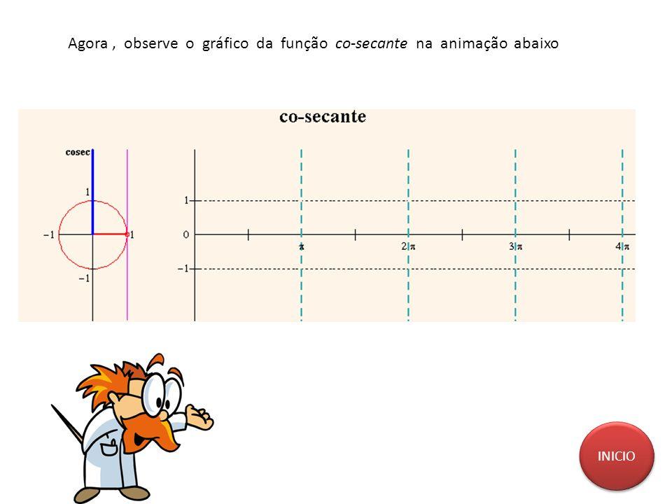 Agora, observe o gráfico da função co-secante na animação abaixo INICIO