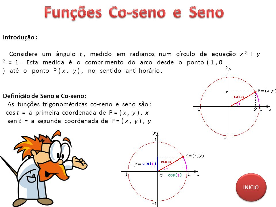 Introdução : Considere um ângulo t, medido em radianos num círculo de equação x 2 + y 2 = 1. Esta medida é o comprimento do arco desde o ponto ( 1, 0