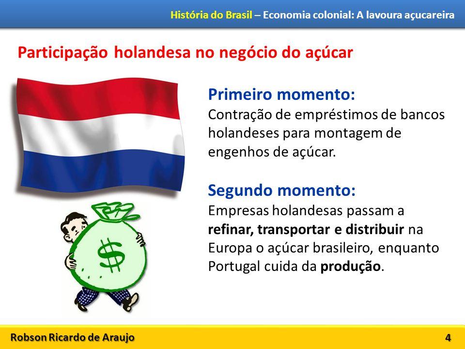 Robson Ricardo de Araujo História do Brasil – Economia colonial: A lavoura açucareira 4 Participação holandesa no negócio do açúcar Primeiro momento: