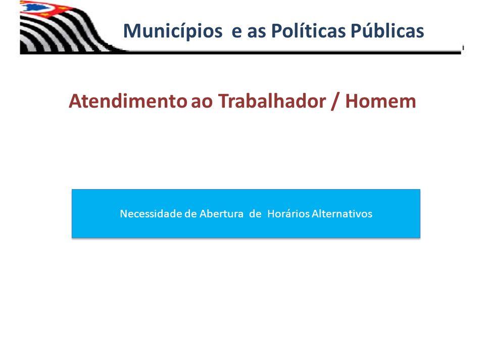 Atendimento ao Trabalhador / Homem Municípios e as Políticas Públicas Necessidade de Abertura de Horários Alternativos