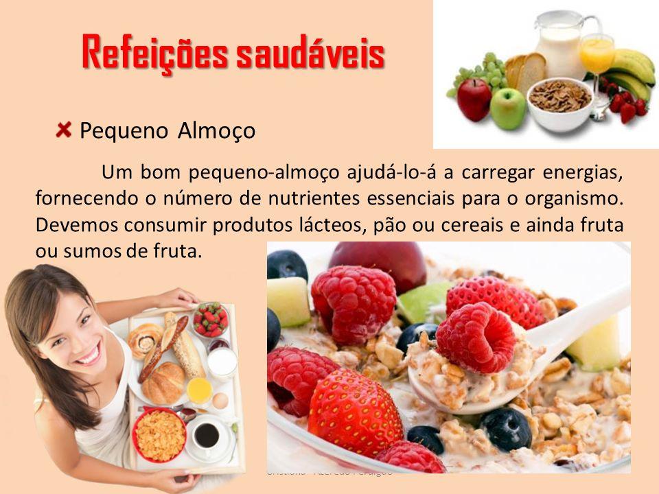 Refeições saudáveis Cristiana - Azeredo Perdigão Um bom pequeno-almoço ajudá-lo-á a carregar energias, fornecendo o número de nutrientes essenciais pa