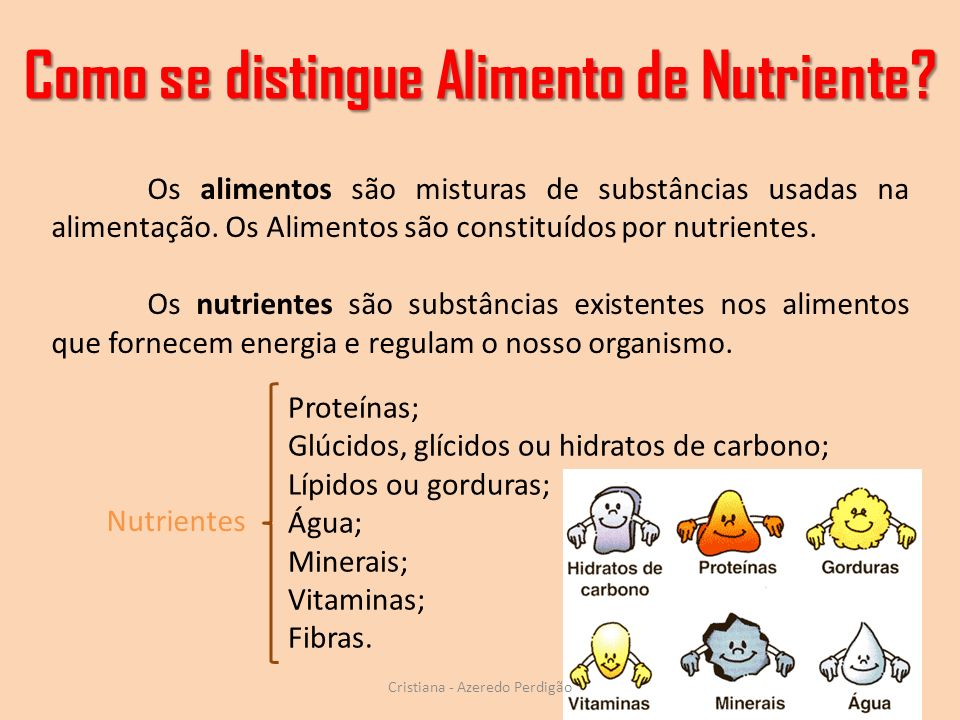 Como se distingue Alimento de Nutriente.
