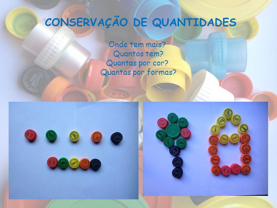 CONSERVAÇÃO DE QUANTIDADES Onde tem mais? Quantos tem? Quantas por cor? Quantas por formas?