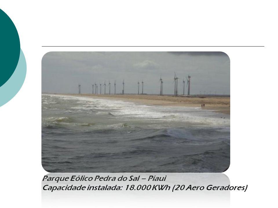 Parque Eólico Pedra do Sal – Píaui Capacidade instalada: 18.000 KWh (20 Aero Geradores)