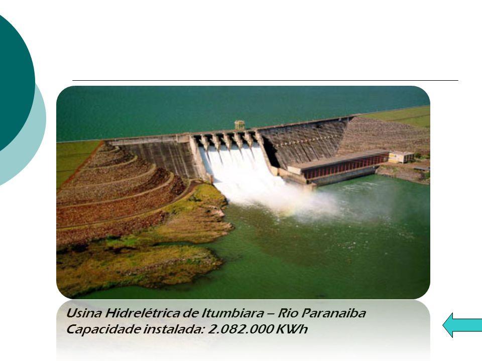 Usina Hidrelétrica de Itumbiara – Rio Paranaiba Capacidade instalada: 2.082.000 KWh