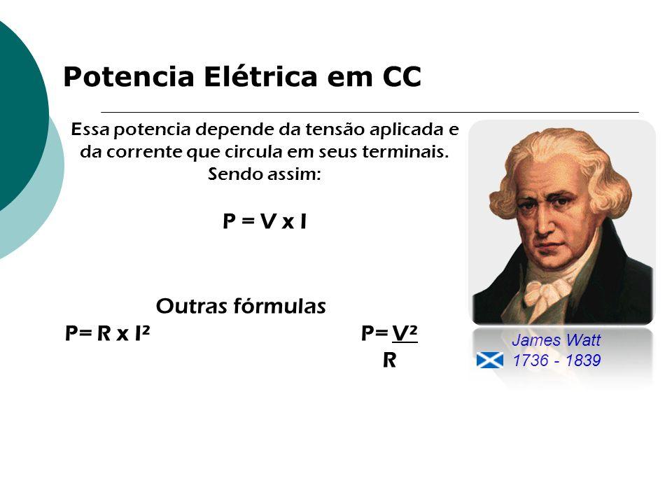 Potencia Elétrica em CC Essa potencia depende da tensão aplicada e da corrente que circula em seus terminais. Sendo assim: P = V x I Outras fórmulas P