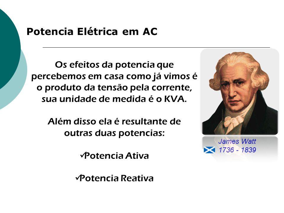 Potencia Elétrica em AC James Watt 1736 - 1839 Os efeitos da potencia que percebemos em casa como já vimos é o produto da tensão pela corrente, sua un