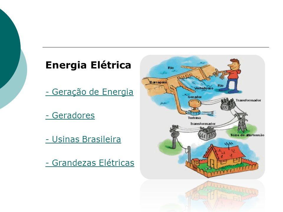 Energia Elétrica - Geração de Energia - Geradores - Usinas Brasileira - Grandezas Elétricas