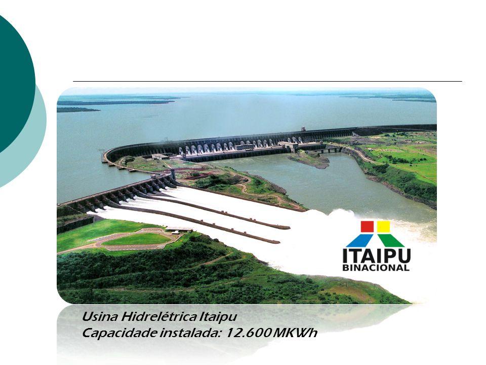 Usina Hidrelétrica Itaipu Capacidade instalada: 12.600 MKWh