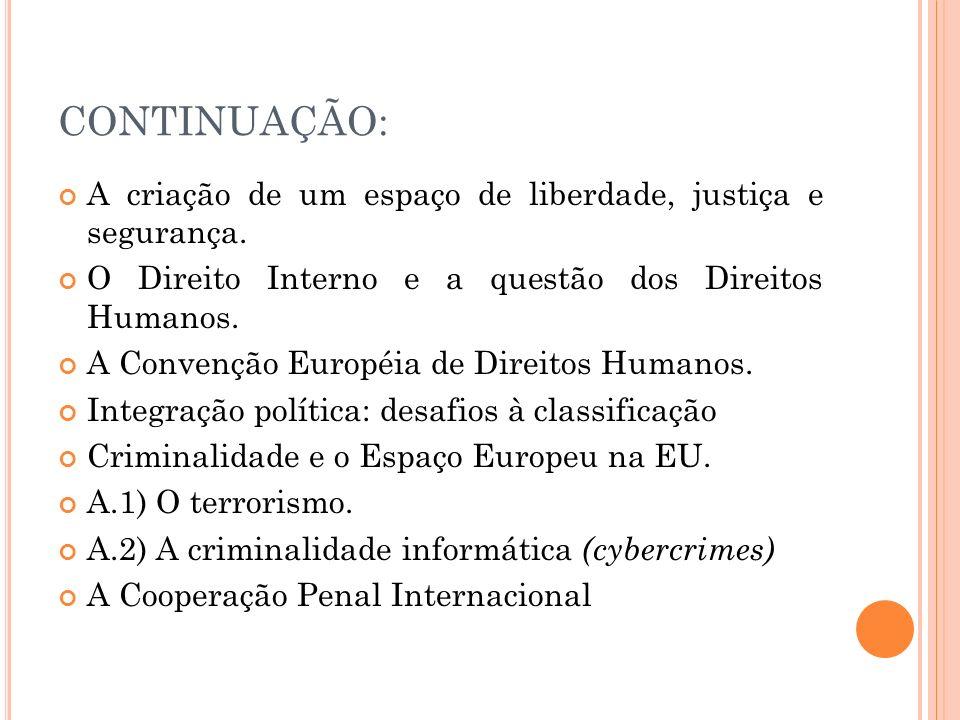 CONTINUAÇÃO: A criação de um espaço de liberdade, justiça e segurança. O Direito Interno e a questão dos Direitos Humanos. A Convenção Européia de Dir