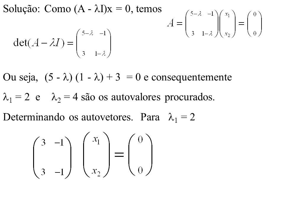 Solução: Como (A - I)x = 0, temos Ou seja, (5 - ) (1 - ) + 3 = 0 e consequentemente 1 = 2 e 2 = 4 são os autovalores procurados. Determinando os autov