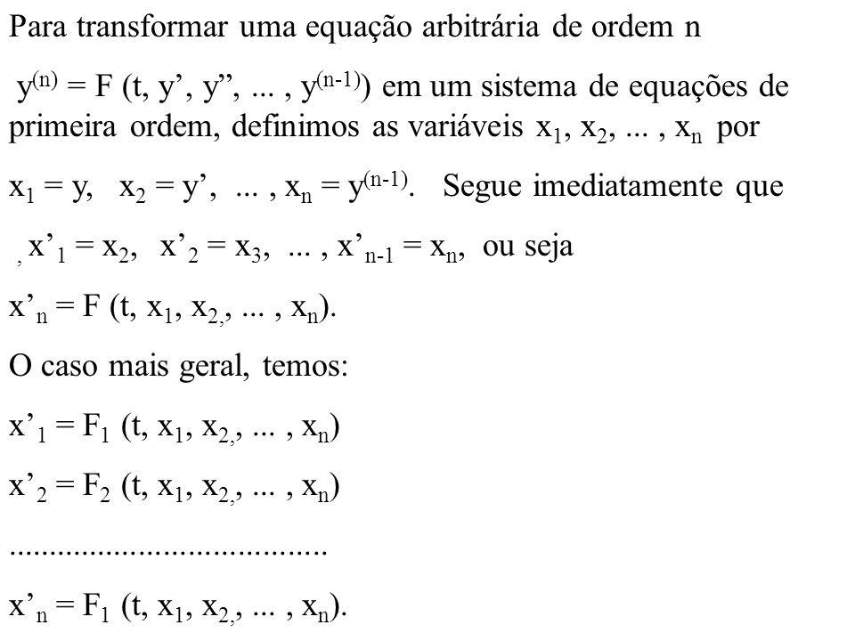 Para transformar uma equação arbitrária de ordem n y (n) = F (t, y, y,..., y (n-1) ) em um sistema de equações de primeira ordem, definimos as variáve