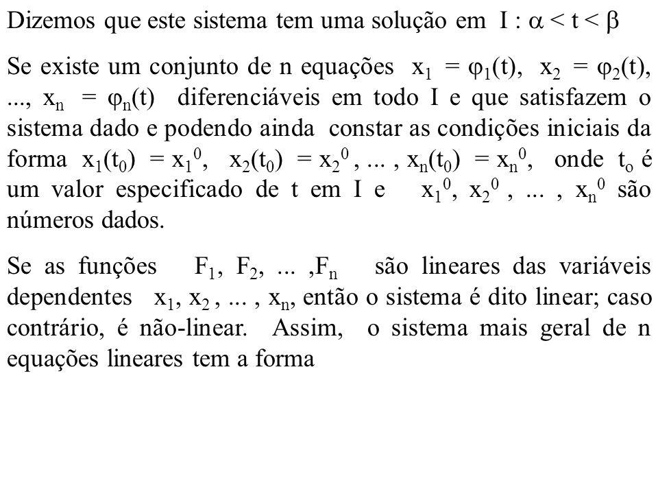 Dizemos que este sistema tem uma solução em I : < t < Se existe um conjunto de n equações x 1 = 1 (t), x 2 = 2 (t),..., x n = n (t) diferenciáveis em